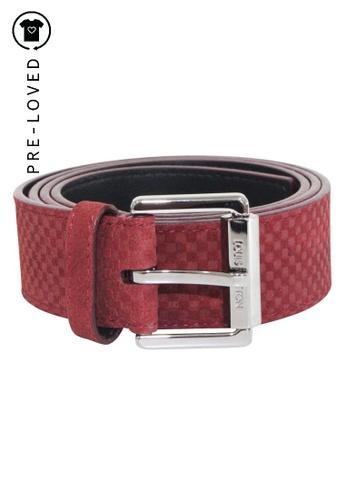 Louis Vuitton red Pre-Loved louis vuitton Red M9540 Suede Damier Belt D32D2AC9145441GS_1