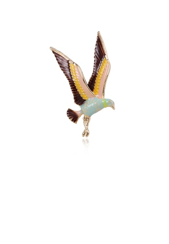 Glamorousky silver Fashion Simple Plated Gold Color Hummingbird Brooch 143D6ACD17FF73GS_1