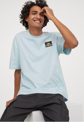 H&M blue and multi Round-Neck T-Shirt Regular Fit 3E10CAA6B619E5GS_1