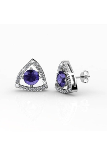 Her Jewellery purple and silver Swarovski® Crystals - Tri-Styled Earrings (Purple)(18K White Gold Plated) Her Jewellery HE581AC0RADXMY_1