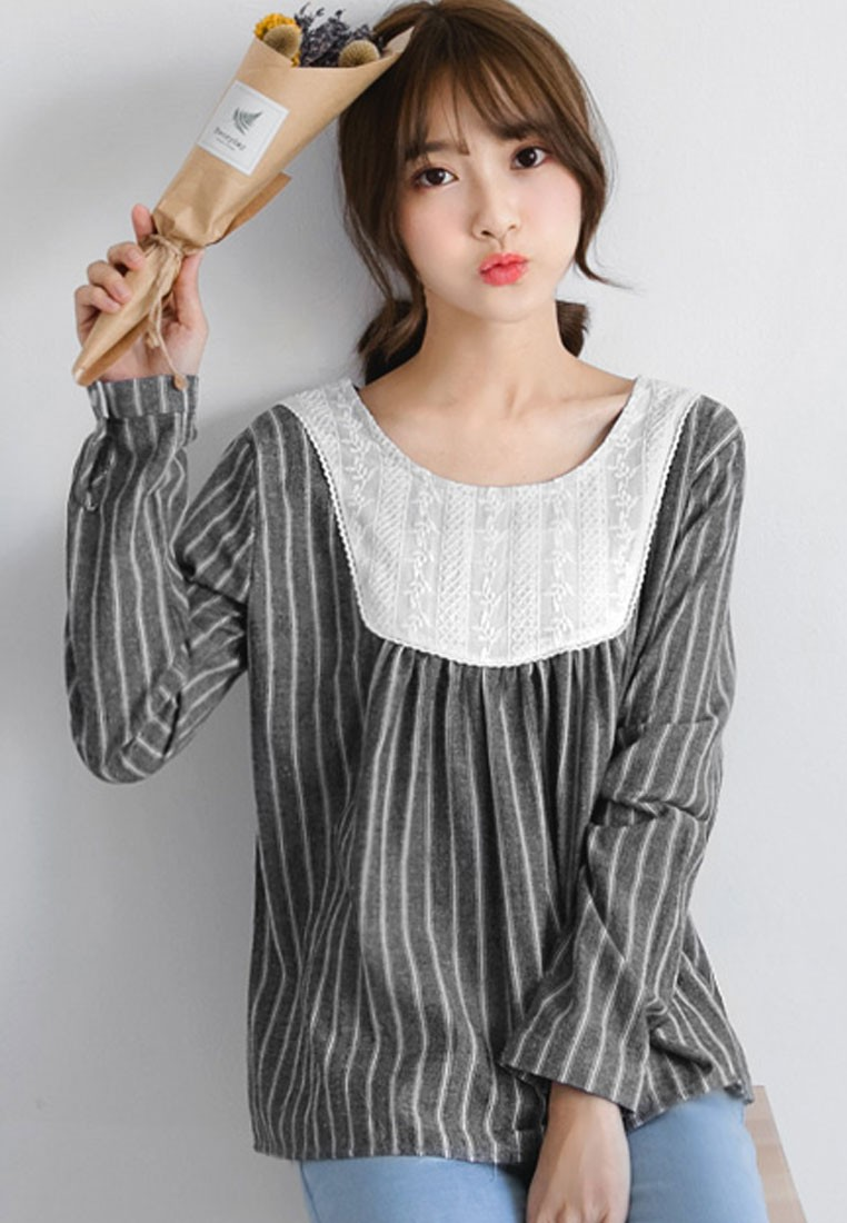 Pinstriped Goodness Babydoll Top