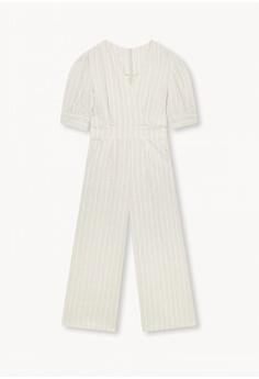 e17abed87fe Pomelo Purpose Striped Surplice Jumpsuit - Beige RM 189.00. Sizes XS S M XL
