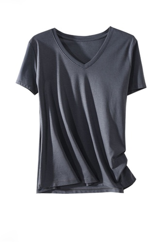 Twenty Eight Shoes grey VANSA V-neck Mercerized Cotton Short-sleeved T-Shirt VCW-Ts1902V 30B9CAAA6B13BBGS_1