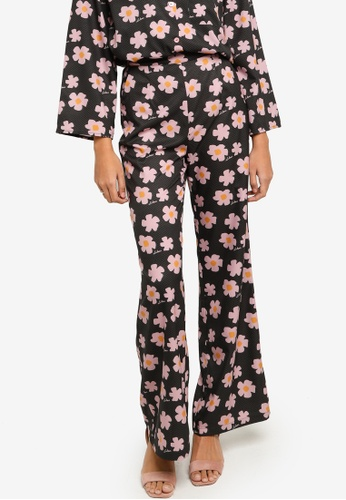 Lubna pink and green Printed Wide Leg Pants 81E5EAAA951348GS_1