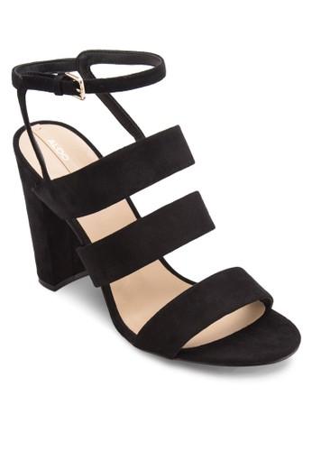 Winfrey 麂皮寬帶繞踝粗跟鞋, 女鞋,esprit地址 鞋