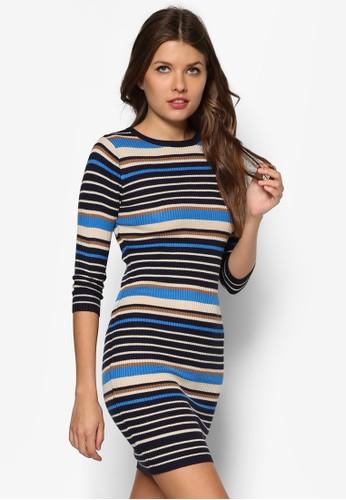Petite 條紋貼身連身zalora 順豐裙, 服飾, 服飾