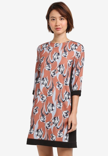 ZALORA orange Contrast Border Shift Dress B5400AA5F6EEBDGS_1