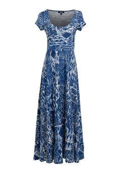 59da12a5765 CHAPS blue Chaps Geometric-Print Cotton Jersey Dress B06A3AAAFFFA06GS 1