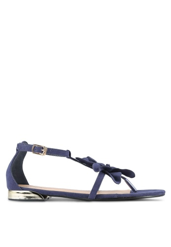 Something Borrowed blue Suede Flower Sandals ECE72SH074362FGS_1