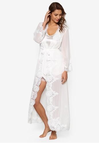 Helena 蕾絲esprit outlet 香港長版睡袍, 服飾, 睡袍