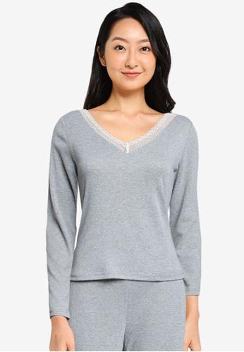 ZALORA BASICS grey Lounge Long Sleeve Lace Trim Top BC036AABD54B75GS_1
