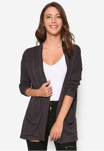 Zali 羅紋長版開zalora時尚購物網的koumi koumi襟外套, 服飾, 服飾