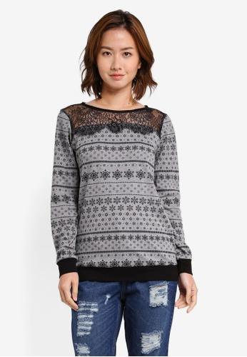 UniqTee grey Lace Top Printed Sweater UN097AA0SHDUMY_1