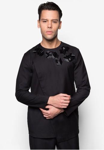 esprit 價位不對稱裹飾串珠長袖上衣, 服飾, 服飾
