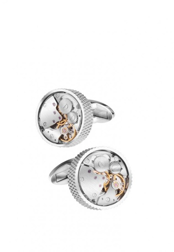 Kings Collection silver Round Mechanical Watch Cufflinks B1A4AAC495120AGS_1