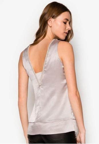 簡約V領背無袖上衣, zalora 包包評價服飾, 服飾