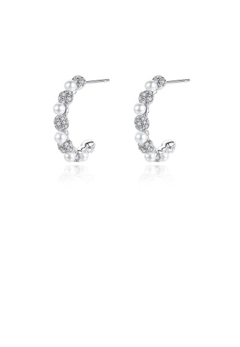 Glamorousky white Simple and Fashion Geometric Semicircle Imitation Pearl Earrings with Cubic Zirconia 69C8CAC82BAF07GS_1