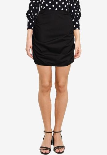 Miss Selfridge black Black Ruched Mini Skirt C061FAA51E3C86GS_1