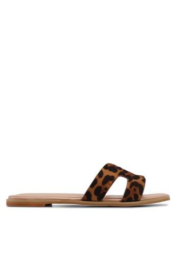 Nose brown Animal Print Slip-On Sandals 24649SH6529375GS_1