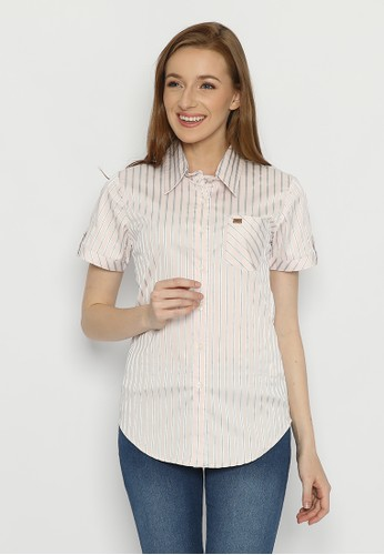 Mobile Power pink Basic Short Sleeve Striped Shirt Peach Grey Mobile Power Ladies - F8396G 3F669AA117CB99GS_1