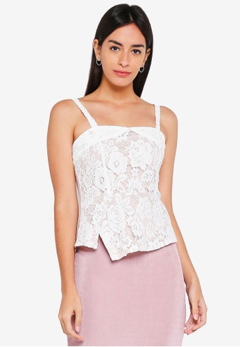 MDSCollections white Lace Cutout Peplum Top In White D32D9AADE12C5CGS_1
