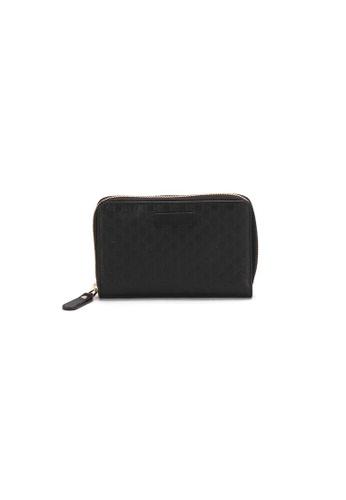Gucci black Pre-Loved gucci Gucci Microgucci Shima Round Fastener Two Folded Wallet in Black C7B52AC23711FEGS_1