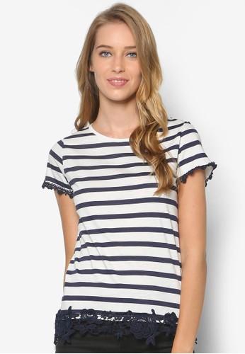 Ivory/Navy Stripe Lace Hem Teezalora鞋, 服飾, 服飾