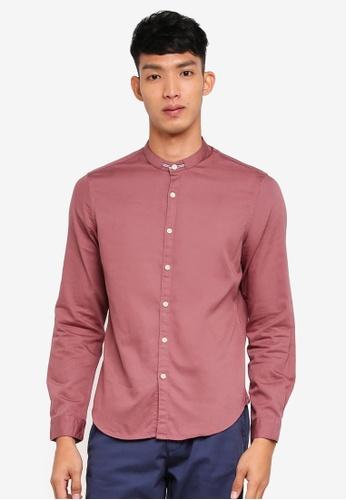 OVS pink Mandarin Collar Shirt 6430BAACF0B41FGS_1