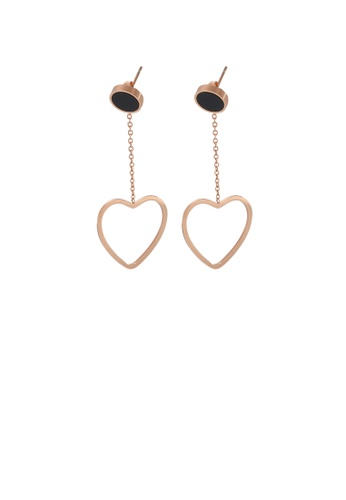 Glamorousky silver Simple and Sweet Plated Rose Gold Hollow Heart-shaped Tassel 316L Stainless Steel Earrings CCF43ACCF8C8D3GS_1