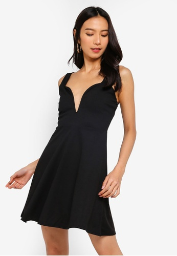 MISSGUIDED black Strappy Sweetheart Skater Dress F3123AAFC3B5D3GS_1