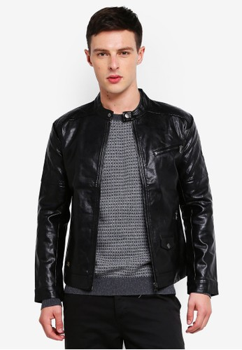 High Cultured black Biker Jacket-73 96A01AAEC21F3CGS_1