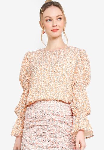 Lubna white and orange Layered Puff Sleeve Top 36DB8AA897072CGS_1