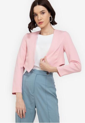 ZALORA WORK pink Cropped Collarless Blazer 6D98BAA4F897A4GS_1