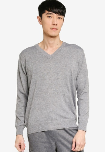 ZALORA BASICS grey Basic V Neck Knitted Jumper 6C83FAA7BA2714GS_1