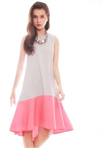 JOVET grey Color Block Midi Dress 918E0AA93B74D2GS_1