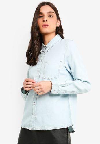OVS blue Cotton Shirt With Stitching 874C2AA2DC9DAEGS_1