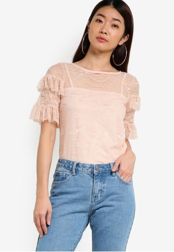 Dorothy Perkins pink Blush Ruffle Lace Top DO816AA50XHXMY_1