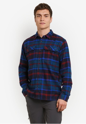 Patagonia blue Long Sleeve Fjord Flannel Shirt PA549AA0RQCSMY_1