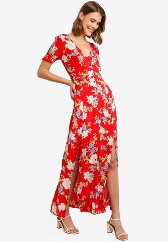 ff52d02536 Miss Selfridge red Red Floral Print Button Through Maxi Dress  E15F5AA4DB0FB4GS_1