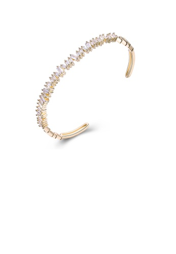 Glamorousky white Fashion Plated Champagne Gold Open Bangle with White Cubic Zircon 0AF98ACDB75F91GS_1