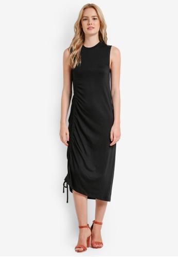 Something Borrowed black Asymmetric Drawstring Midi Dress 4DAEEZZ0AE30A1GS_1