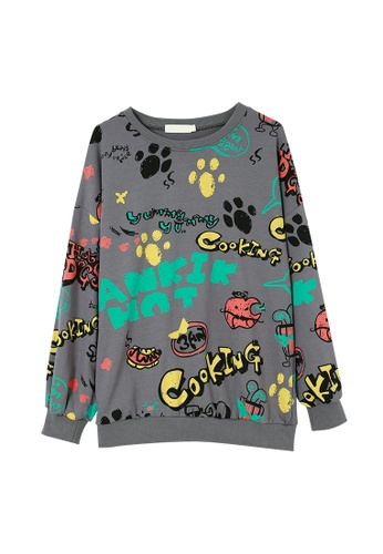 Its Me multi Fashion Printed Round Neck Sweater T-Shirt 3EE12AA2EF85B8GS_1