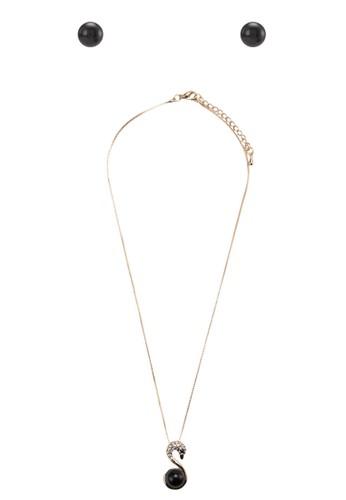 閃鑽珍珠天鵝首飾組合,zalora 泳衣 飾品配件, 項鍊
