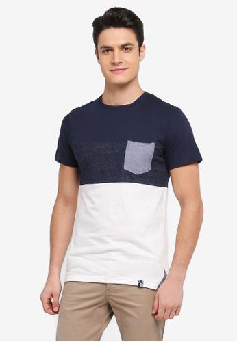 Indicode Jeans 白色 短袖撞色口袋T恤 D08A0AAEEEDF58GS_1