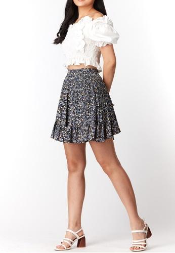 What To Wear blue Flounced Hem Pleat Short Skirt in Blue A3C8EAA1776722GS_1