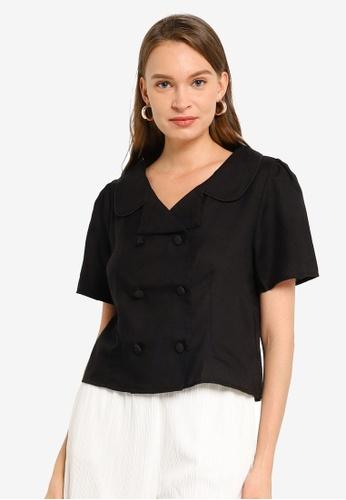 Heather black Woven Double Button Shirt 36556AAAA39DDEGS_1