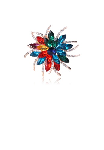 Glamorousky silver Fashion Bright Colorful Flower Brooch with Cubic Zirconia 63ACBAC26C33C2GS_1