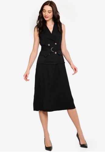 ZALORA black Pleated Detail Blazer Dress 08932AADF27633GS_1