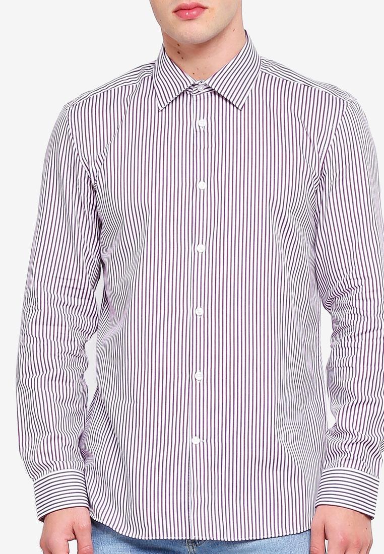 Burton Shirt Striped London Fit Bold Tailored Burgundy Burgundy Menswear Xw4vq7Ux