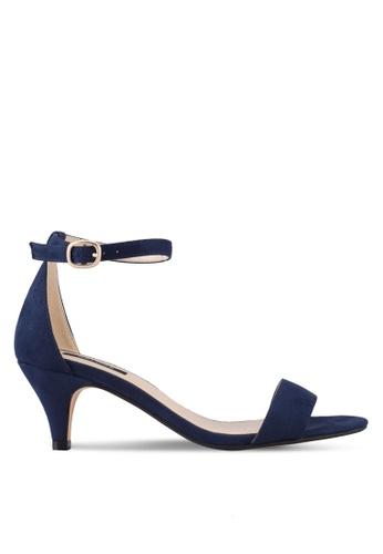 ZALORA 海軍藍色 Eyelet Strap Low Heels 4AAD1SH1B98D33GS_1